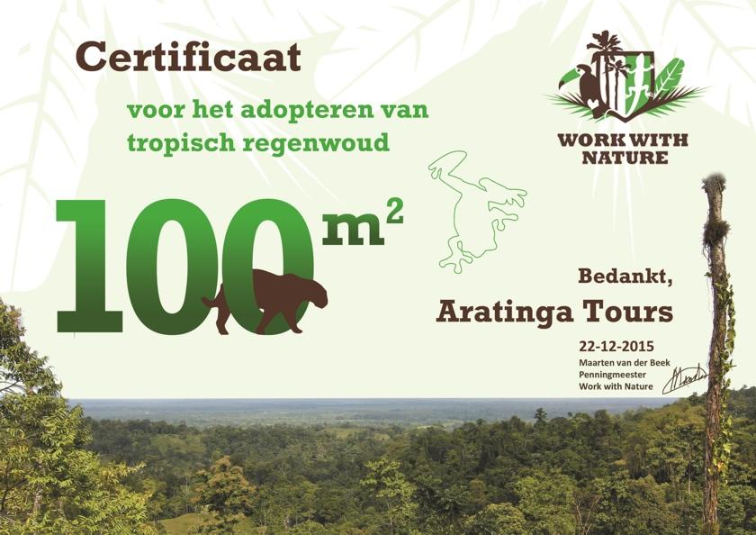 Certificaat Aratinga Tours
